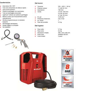 Compressore portatile einhell th ac 190 kit senza serbatoio ebay - Kit finestra condizionatore portatile ...
