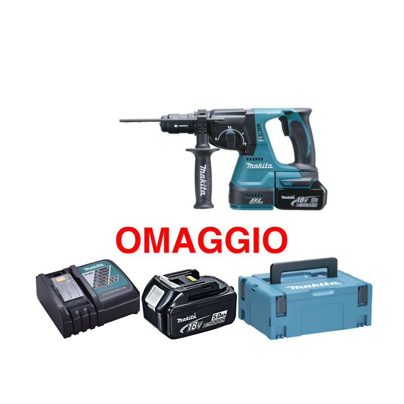 makita dhr243rtj tassellatore sds con 2 batterie 18v 5ah. Black Bedroom Furniture Sets. Home Design Ideas