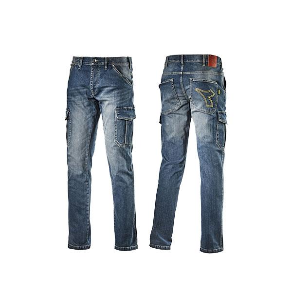 Dettagli su Jeans da lavoro Diadora Utility Cargo Denim Pantaloni elasticizzati in cotone