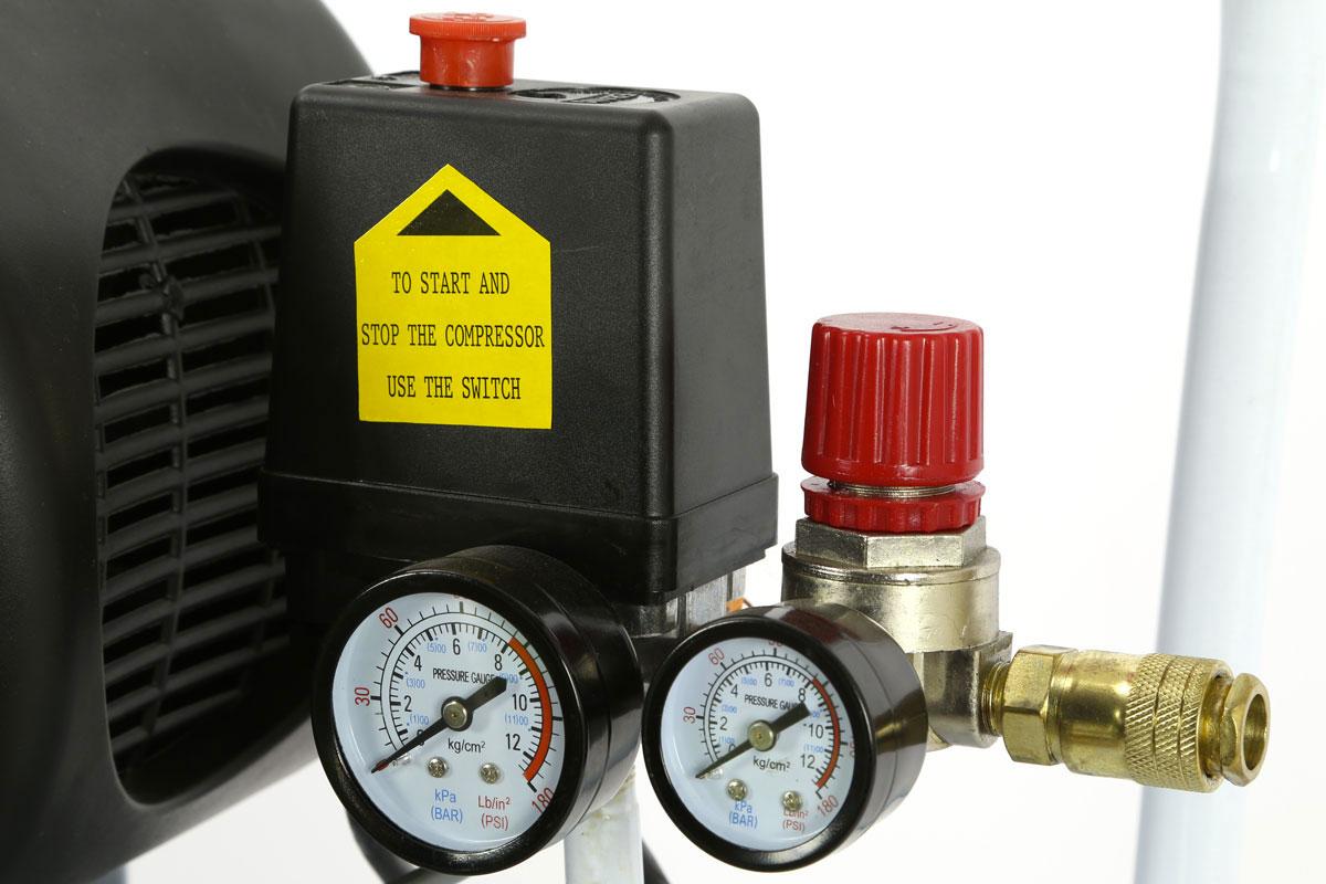 compressore 25 litri foxcot fl24 particolare elettrovalvola e manometro