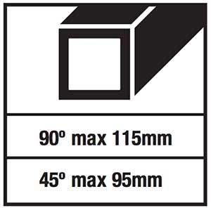 troncatrice ferro aeg smt 355: capacità di taglio quadrato
