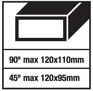 troncatrice ferro aeg smt 355: capacità di taglio rettangolare