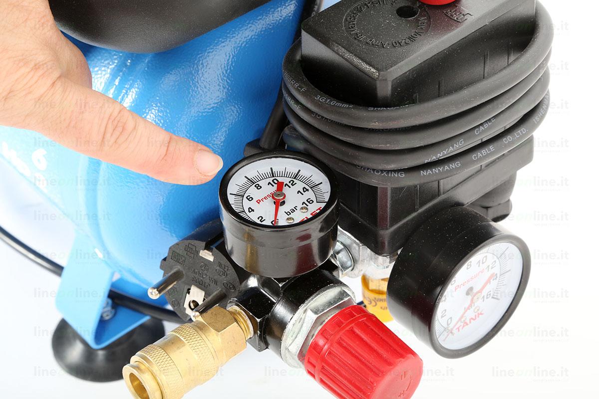 Compressore portatile ABAC START L20 manometro pressione uscita